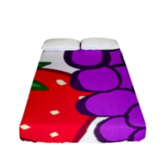 Fruit Grapes Strawberries Red Green Purple Fitted Sheet (full/ Double Size) by Alisyart