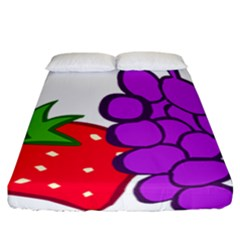 Fruit Grapes Strawberries Red Green Purple Fitted Sheet (california King Size)