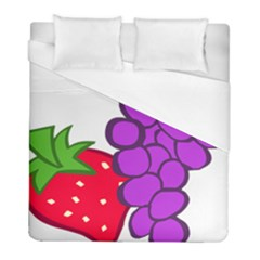 Fruit Grapes Strawberries Red Green Purple Duvet Cover (full/ Double Size) by Alisyart