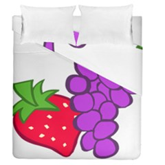 Fruit Grapes Strawberries Red Green Purple Duvet Cover Double Side (queen Size) by Alisyart