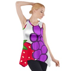 Fruit Grapes Strawberries Red Green Purple Side Drop Tank Tunic by Alisyart