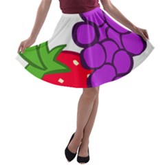 Fruit Grapes Strawberries Red Green Purple A-line Skater Skirt by Alisyart