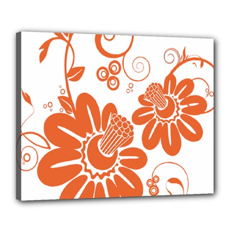 Floral Rose Orange Flower Canvas 20  X 16  by Alisyart