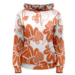 Floral Rose Orange Flower Women s Pullover Hoodie