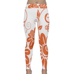 Floral Rose Orange Flower Classic Yoga Leggings by Alisyart