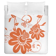 Floral Rose Orange Flower Duvet Cover Double Side (queen Size) by Alisyart