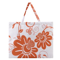 Floral Rose Orange Flower Zipper Large Tote Bag