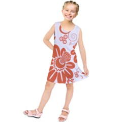 Floral Rose Orange Flower Kids  Tunic Dress by Alisyart