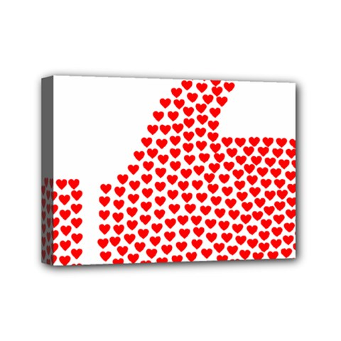 Heart Love Valentines Day Red Sign Mini Canvas 7  X 5  by Alisyart