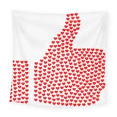 Heart Love Valentines Day Red Sign Square Tapestry (large) by Alisyart