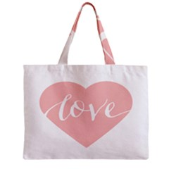 Love Valentines Heart Pink Zipper Mini Tote Bag by Alisyart