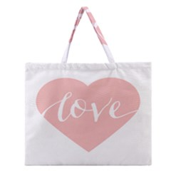 Love Valentines Heart Pink Zipper Large Tote Bag by Alisyart