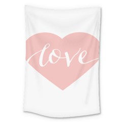 Love Valentines Heart Pink Large Tapestry by Alisyart