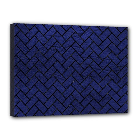 Brick2 Black Marble & Blue Leather (r) Canvas 16  X 12  (stretched) by trendistuff