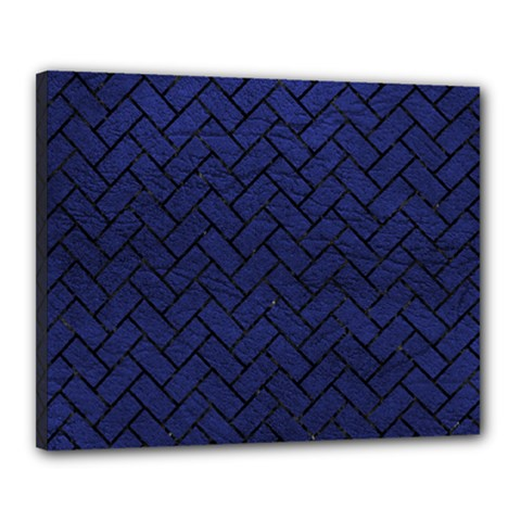 Brick2 Black Marble & Blue Leather (r) Canvas 20  X 16  (stretched) by trendistuff