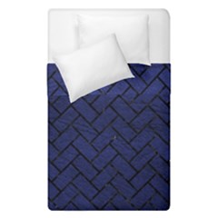 Brick2 Black Marble & Blue Leather (r) Duvet Cover Double Side (single Size) by trendistuff