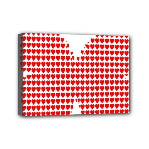 Hearts Butterfly Red Valentine Love Mini Canvas 7  X 5