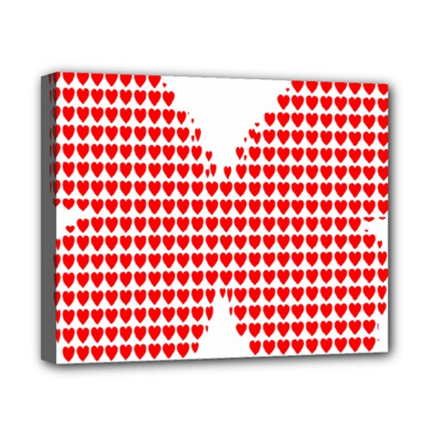 Hearts Butterfly Red Valentine Love Canvas 10  X 8  by Alisyart