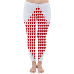 Hearts Butterfly Red Valentine Love Classic Winter Leggings
