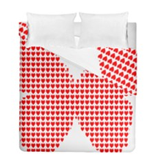Hearts Butterfly Red Valentine Love Duvet Cover Double Side (full/ Double Size)