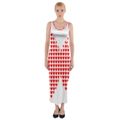 Hearts Butterfly Red Valentine Love Fitted Maxi Dress