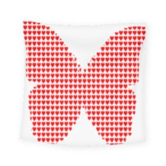 Hearts Butterfly Red Valentine Love Square Tapestry (small)