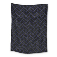 Brick2 Black Marble & Blue Leather Medium Tapestry by trendistuff