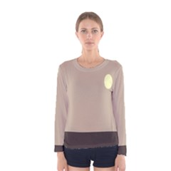 Minimalist Circle Sun Gray Brown Women s Long Sleeve Tee by Alisyart
