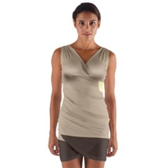 Minimalist Circle Sun Gray Brown Wrap Front Bodycon Dress