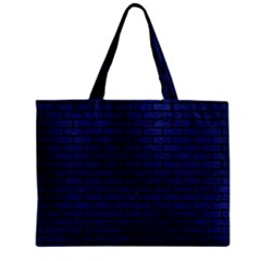 Brick1 Black Marble & Blue Leather (r) Zipper Mini Tote Bag by trendistuff