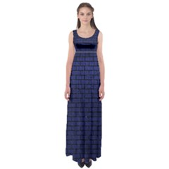 Brick1 Black Marble & Blue Leather (r) Empire Waist Maxi Dress by trendistuff