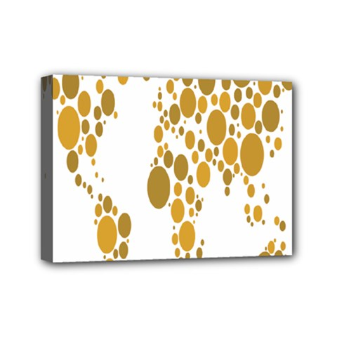 Map Dotted Gold Circle Mini Canvas 7  X 5  by Alisyart