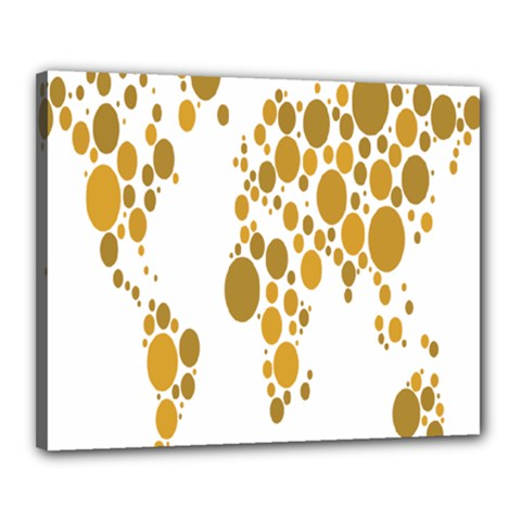 Map Dotted Gold Circle Canvas 20  X 16  by Alisyart