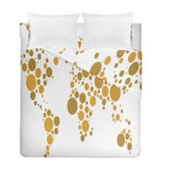 Map Dotted Gold Circle Duvet Cover Double Side (full/ Double Size) by Alisyart