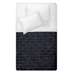 Brick1 Black Marble & Blue Leather Duvet Cover (single Size) by trendistuff