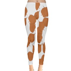 Machovka Autumn Leaves Brown Leggings  by Alisyart