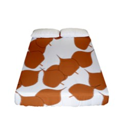 Machovka Autumn Leaves Brown Fitted Sheet (full/ Double Size) by Alisyart