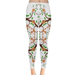 Floral Tree Leaf Flower Star Classic Winter Leggings
