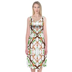Floral Tree Leaf Flower Star Midi Sleeveless Dress