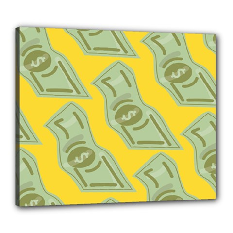 Money Dollar $ Sign Green Yellow Canvas 24  X 20  by Alisyart