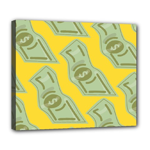 Money Dollar $ Sign Green Yellow Deluxe Canvas 24  X 20   by Alisyart