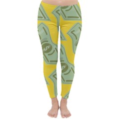 Money Dollar $ Sign Green Yellow Classic Winter Leggings