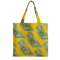 Money Dollar $ Sign Green Yellow Zipper Grocery Tote Bag