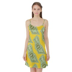 Money Dollar $ Sign Green Yellow Satin Night Slip by Alisyart