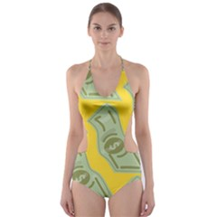 Money Dollar $ Sign Green Yellow Cut Out One Piece Swimsuit by Alisyart
