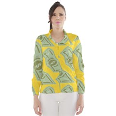 Money Dollar $ Sign Green Yellow Wind Breaker (women)