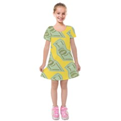 Money Dollar $ Sign Green Yellow Kids  Short Sleeve Velvet Dress