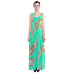 Money Dollar $ Sign Green Sleeveless Maxi Dress