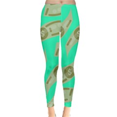 Money Dollar $ Sign Green Classic Winter Leggings