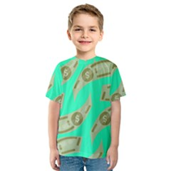 Money Dollar $ Sign Green Kids  Sport Mesh Tee by Alisyart